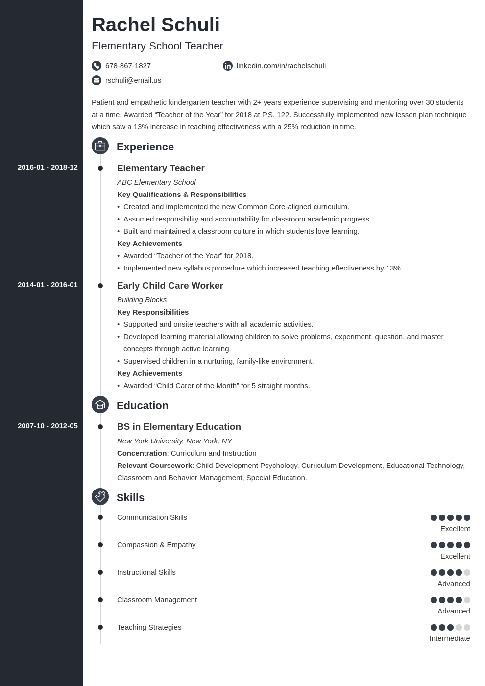 elementary teacher resume example template concept