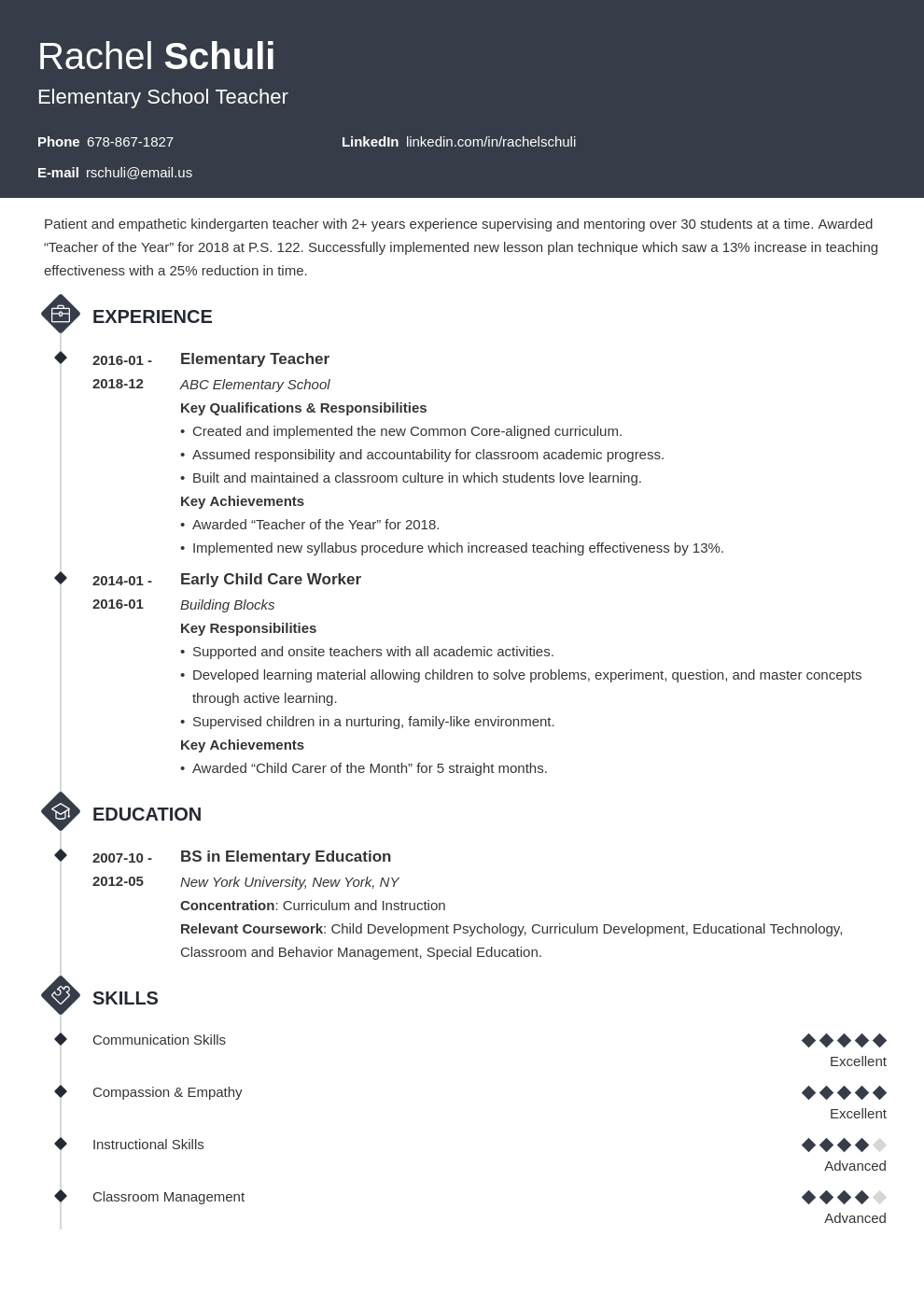 elementary teacher resume example template diamond