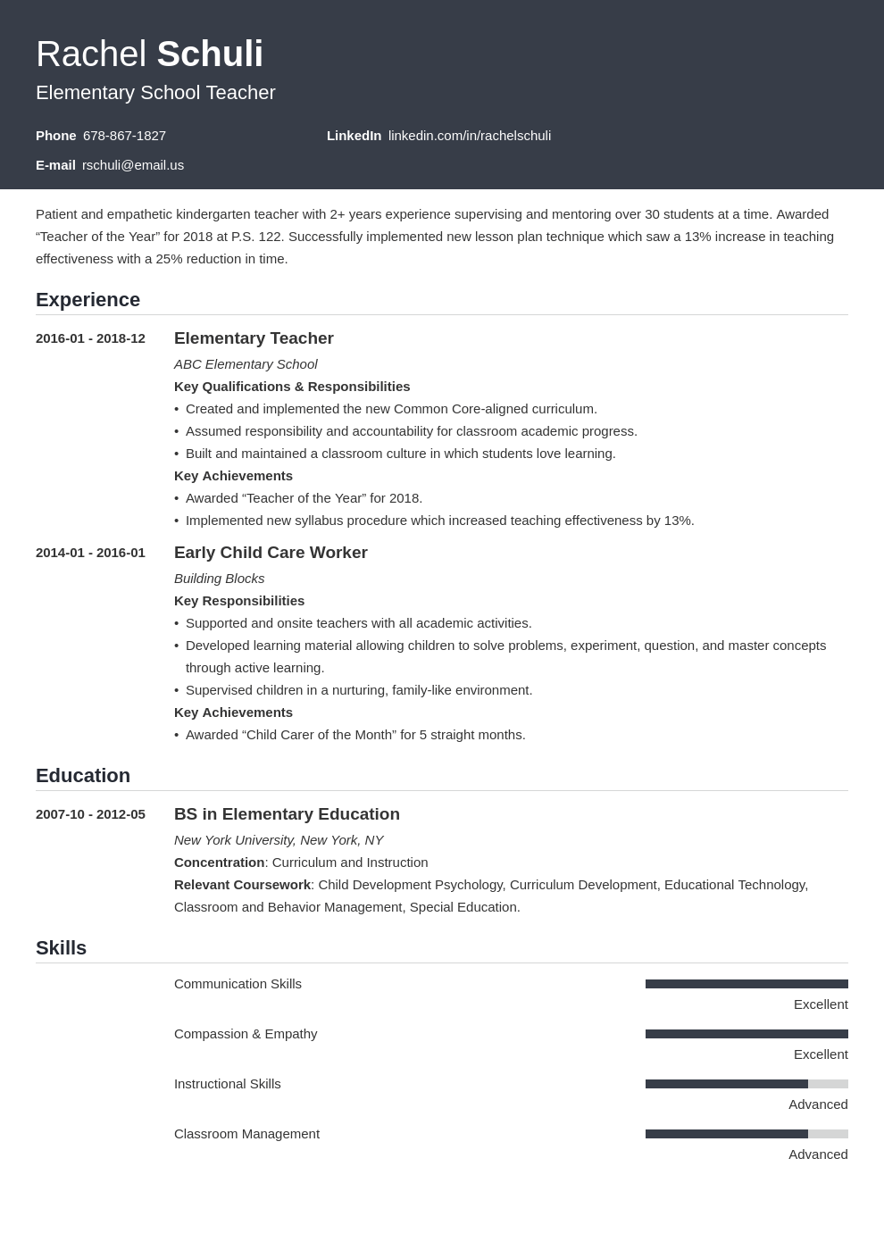 elementary teacher resume example template influx