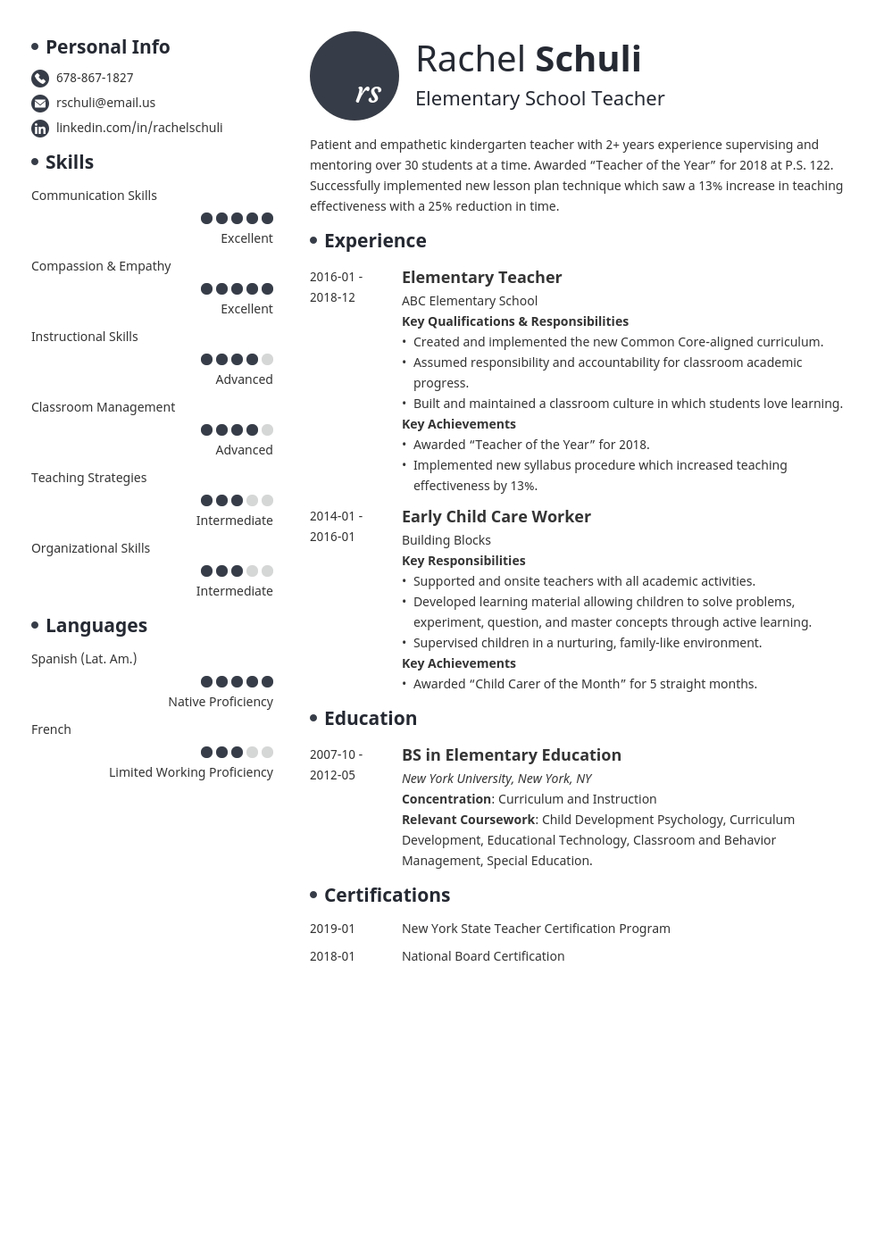 elementary teacher resume example template initials
