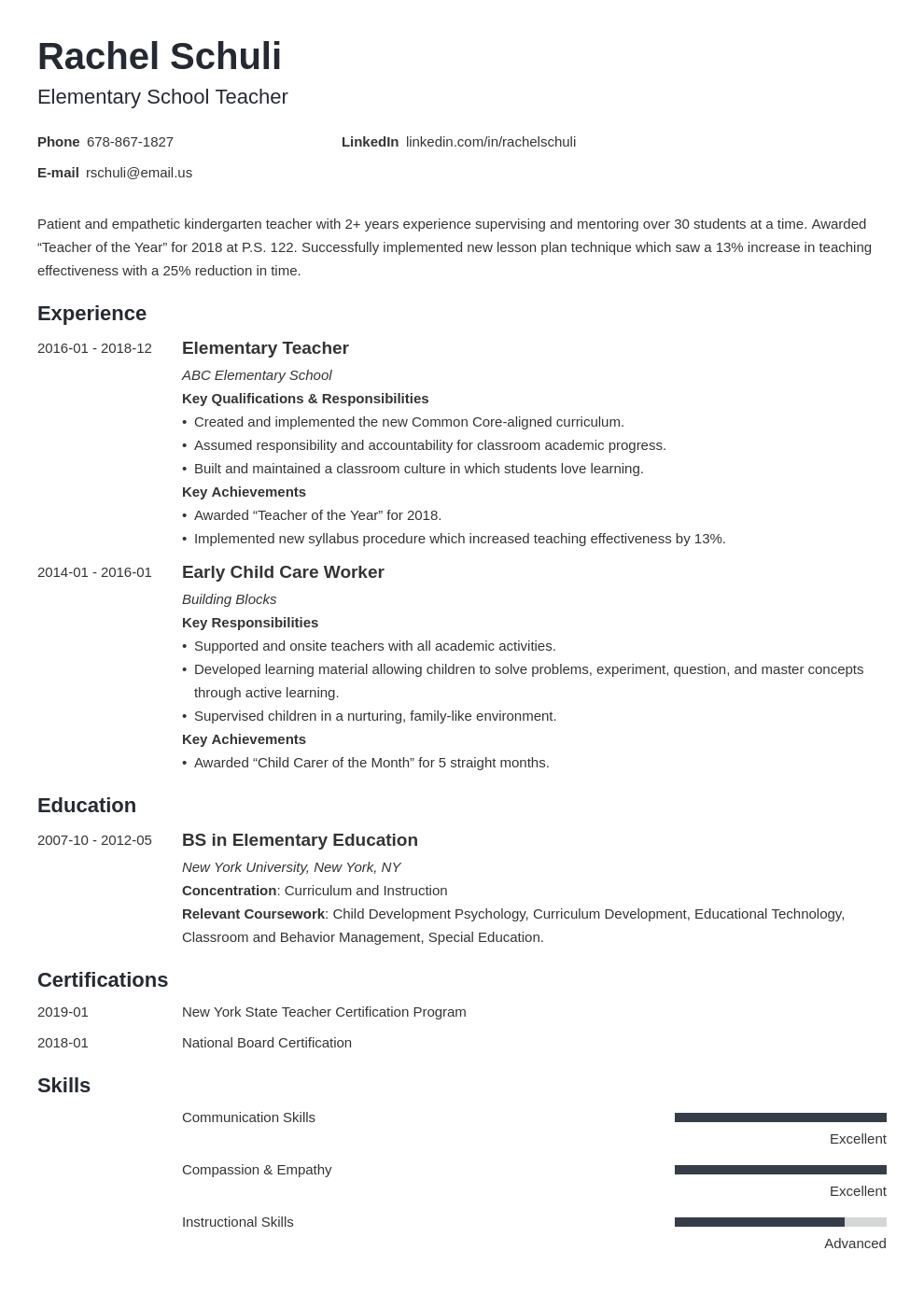 elementary teacher resume example template minimo