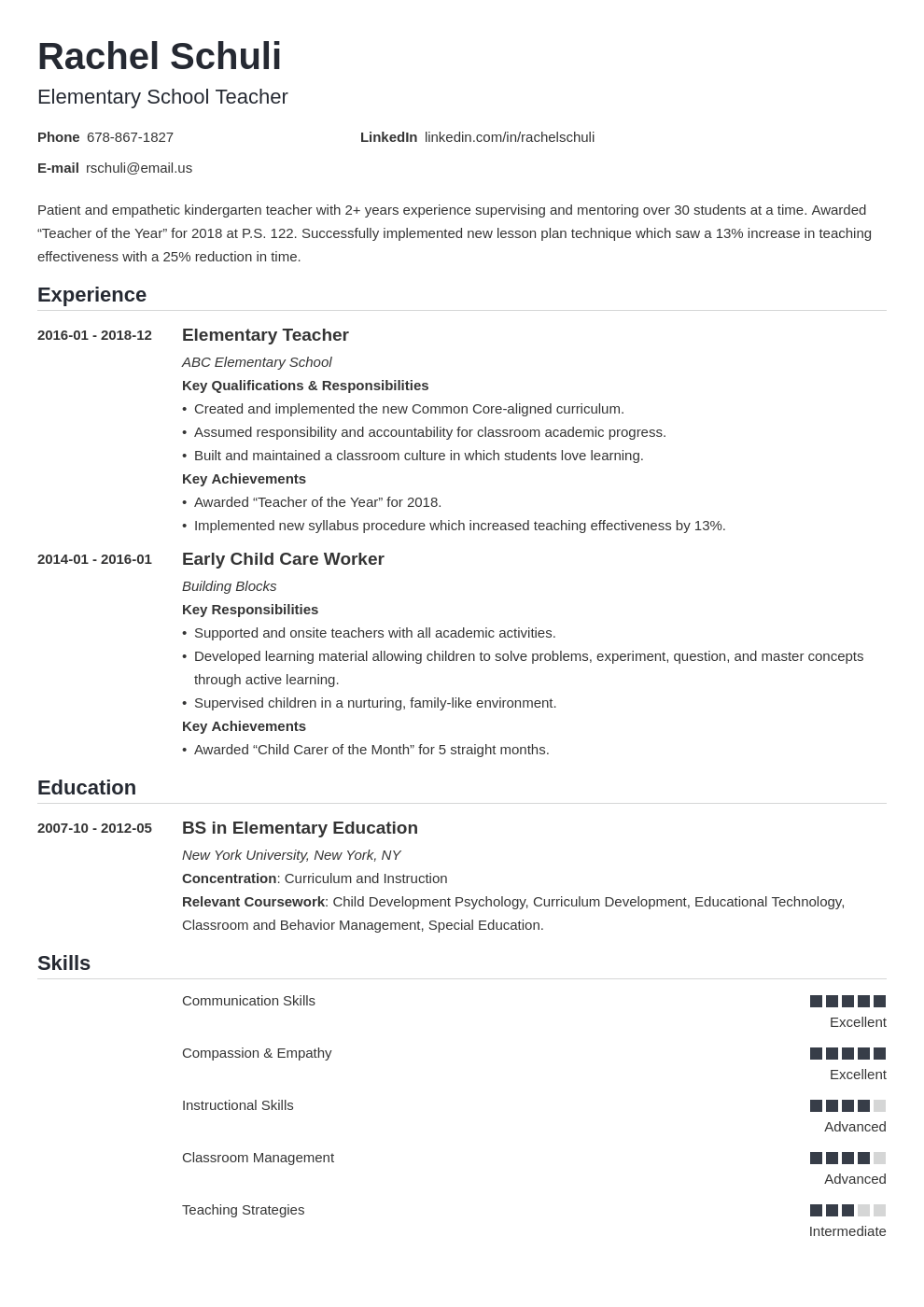 elementary teacher resume example template nanica