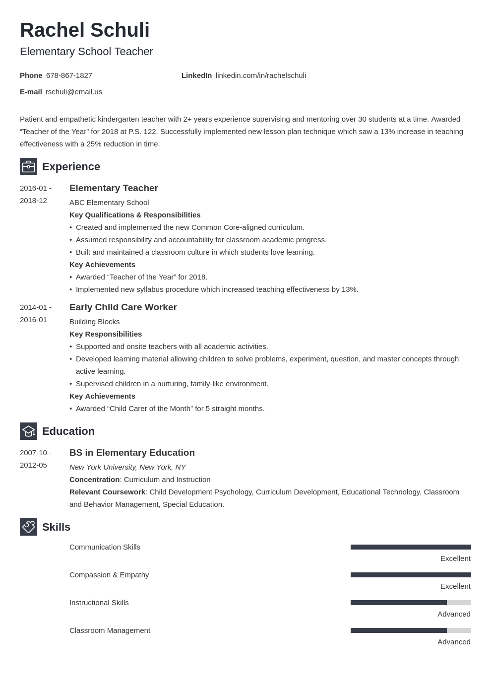elementary teacher resume example template newcast
