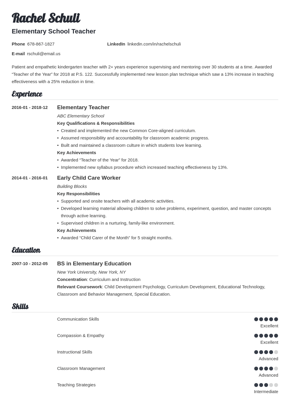 elementary teacher resume example template valera