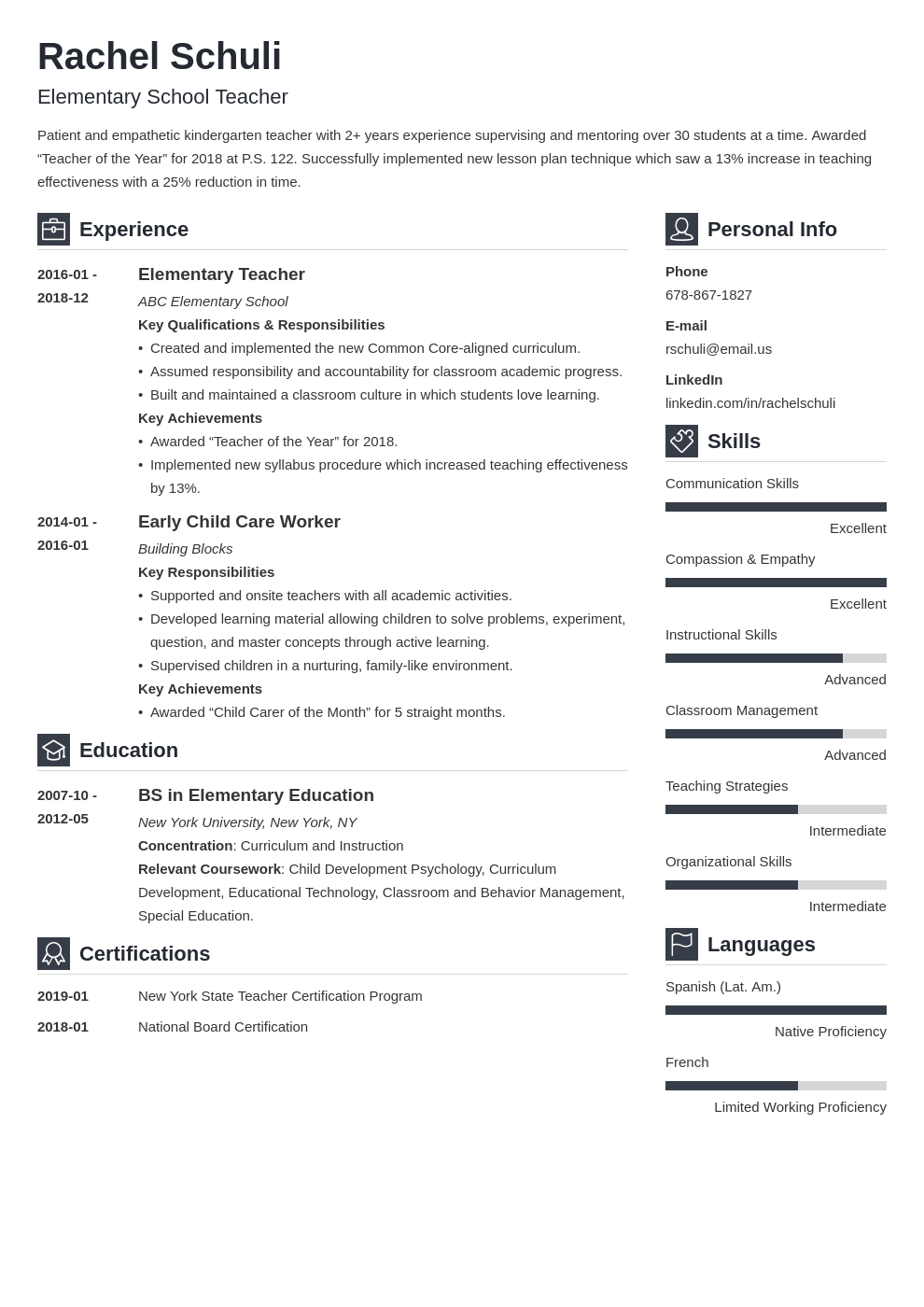 elementary teacher resume example template vibes