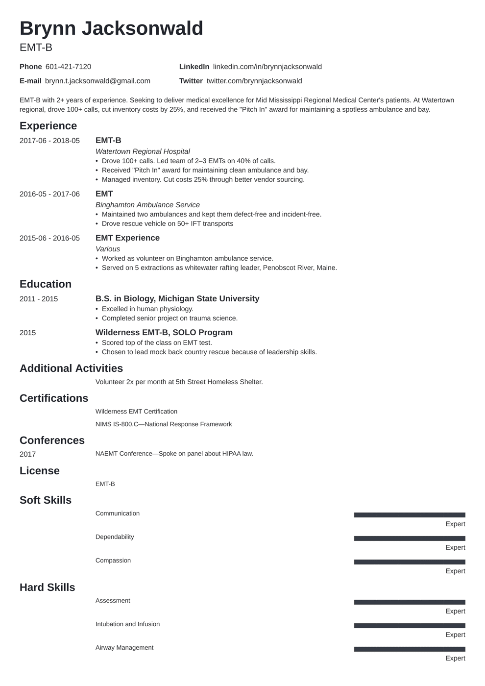 EMT Paramedic Resume Samples Writing Guide 20 EMS Examples