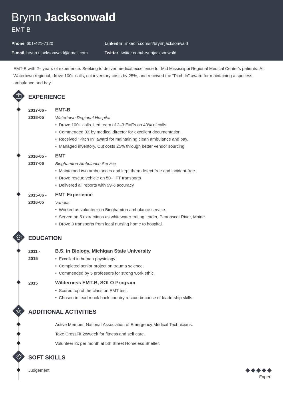 emt resume example template diamond