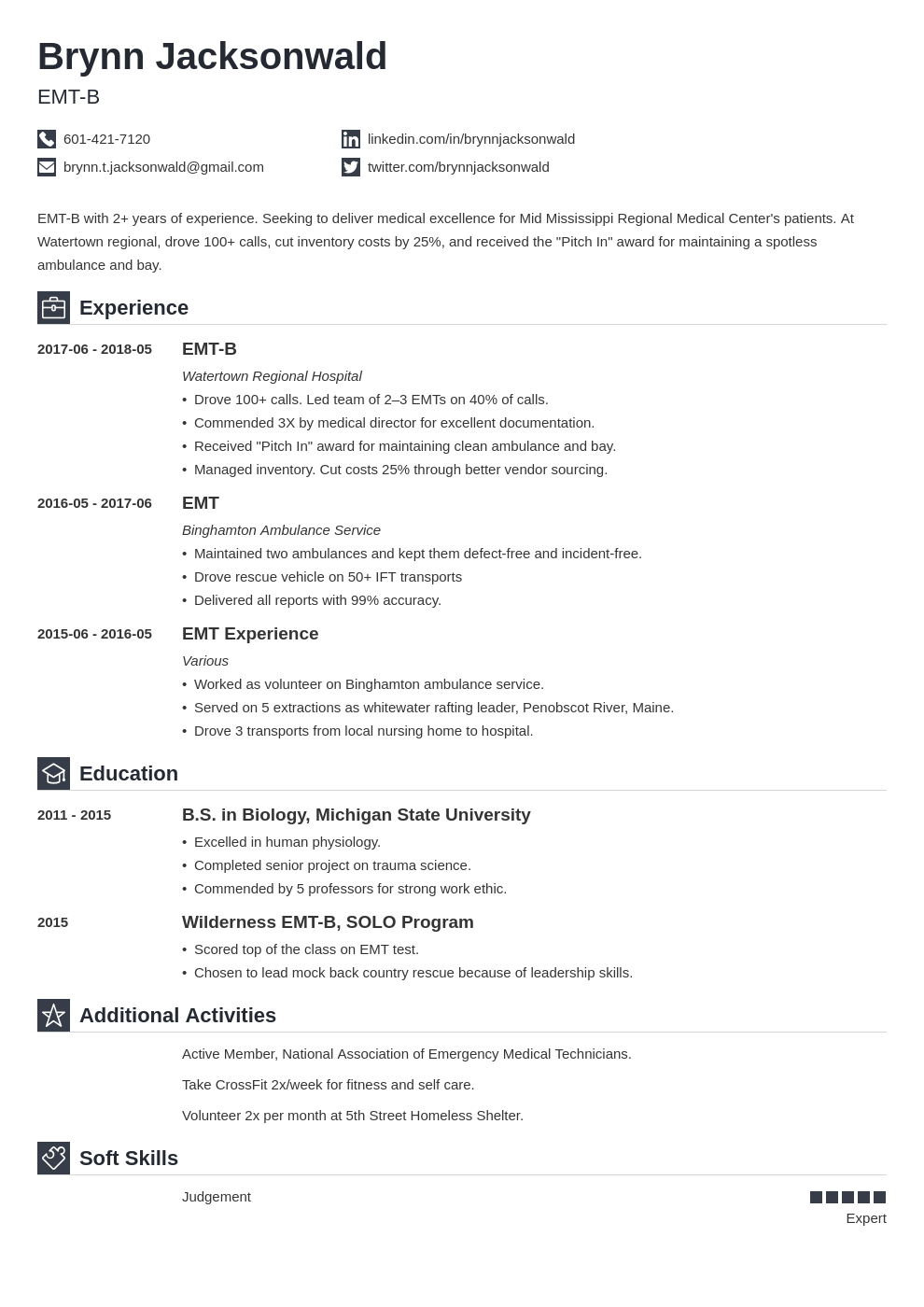 emt resume example template iconic