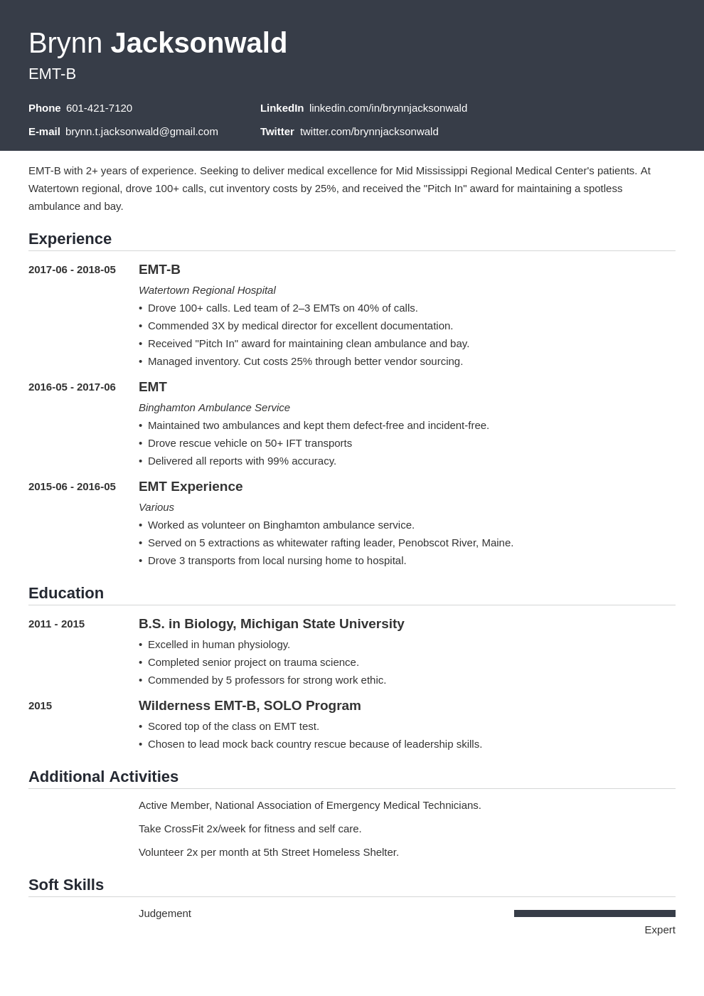 emt resume example template influx