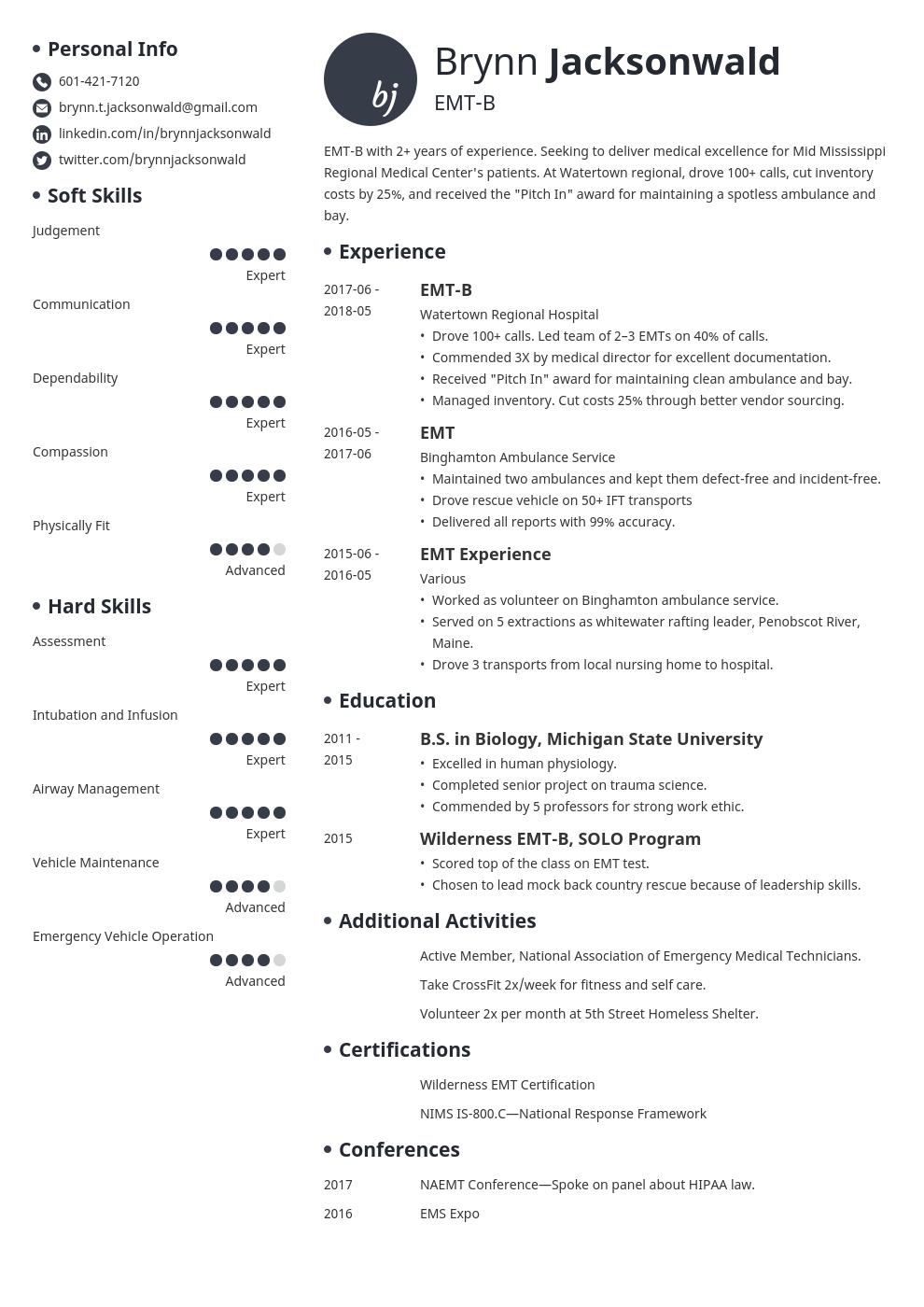 emt resume example template initials