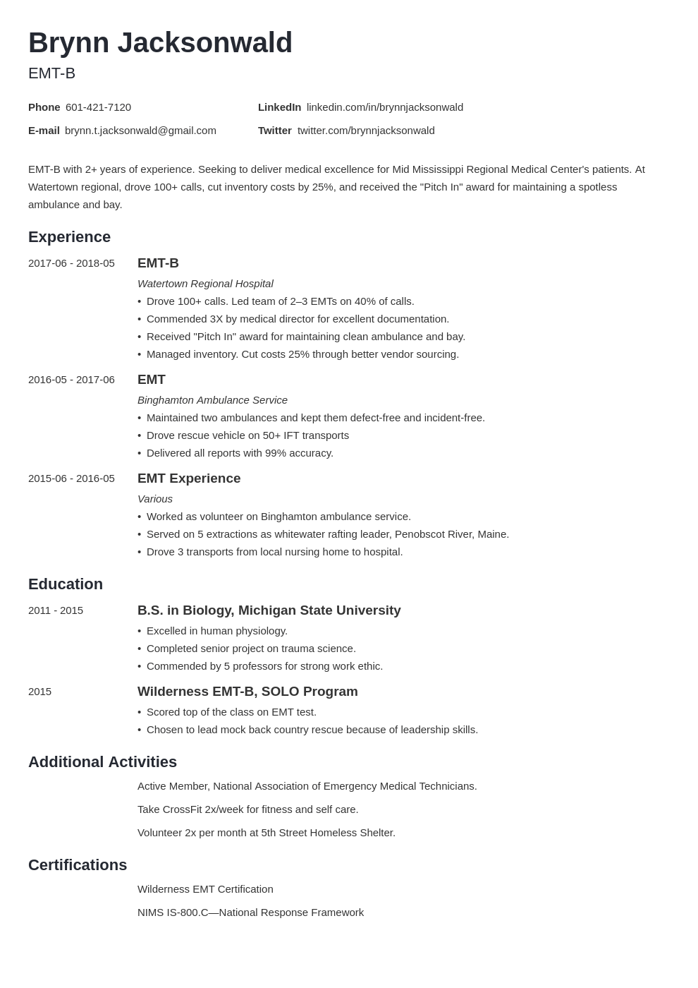 emt resume example template minimo