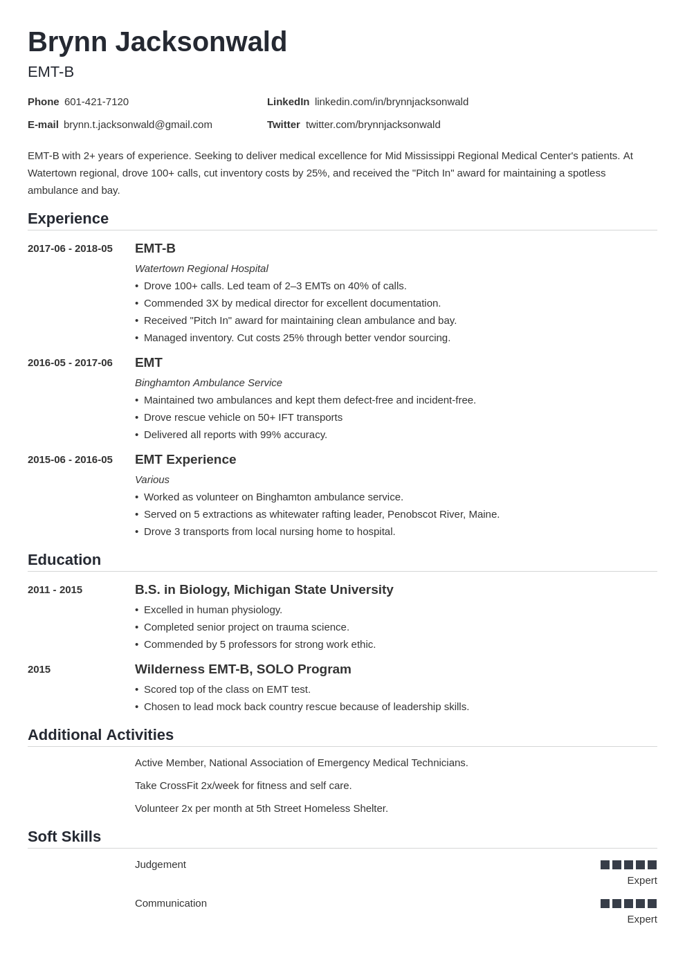 emt resume example template nanica
