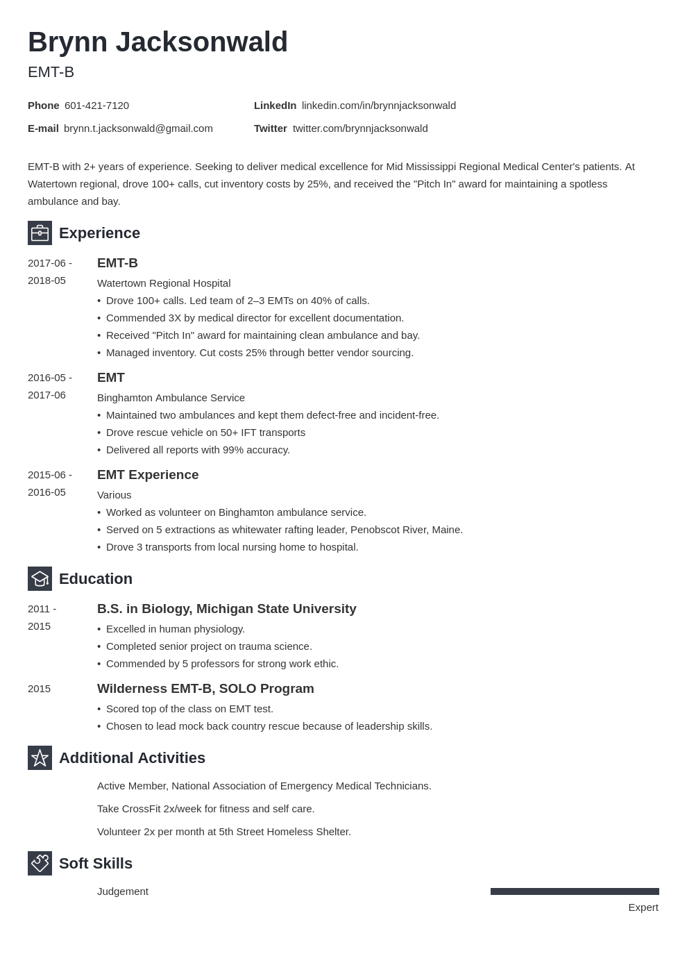 emt resume example template newcast