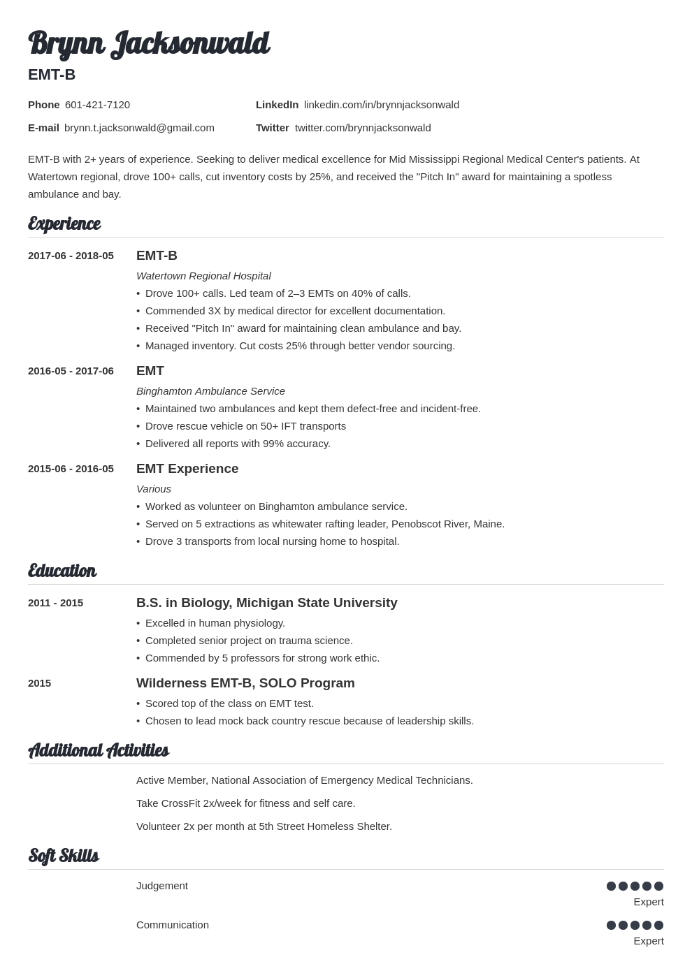 emt resume example template valera