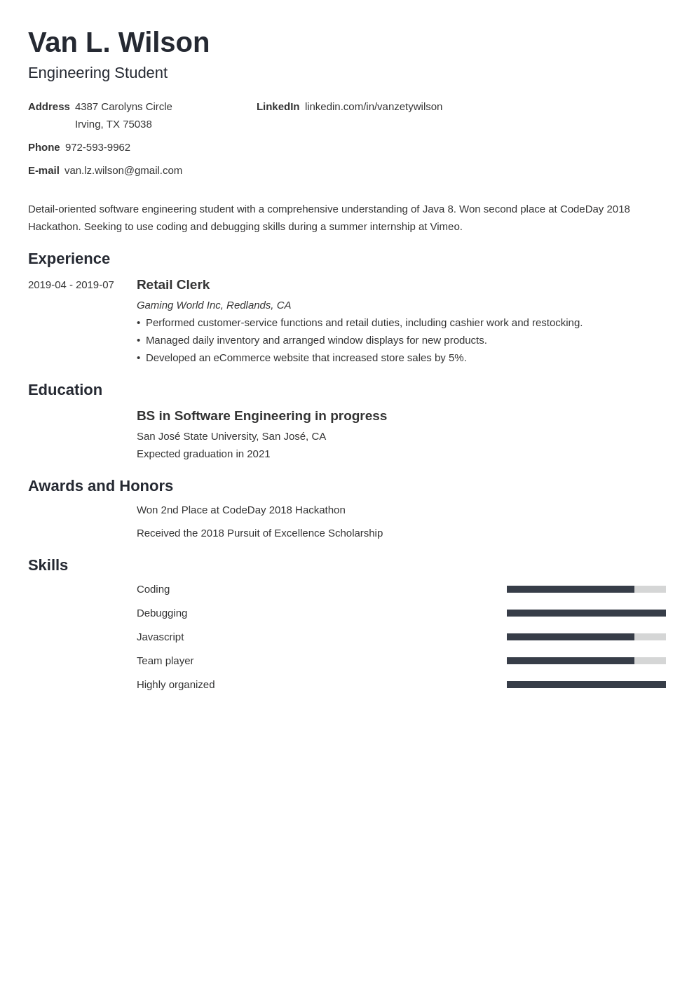 engineering internship resume example template minimo