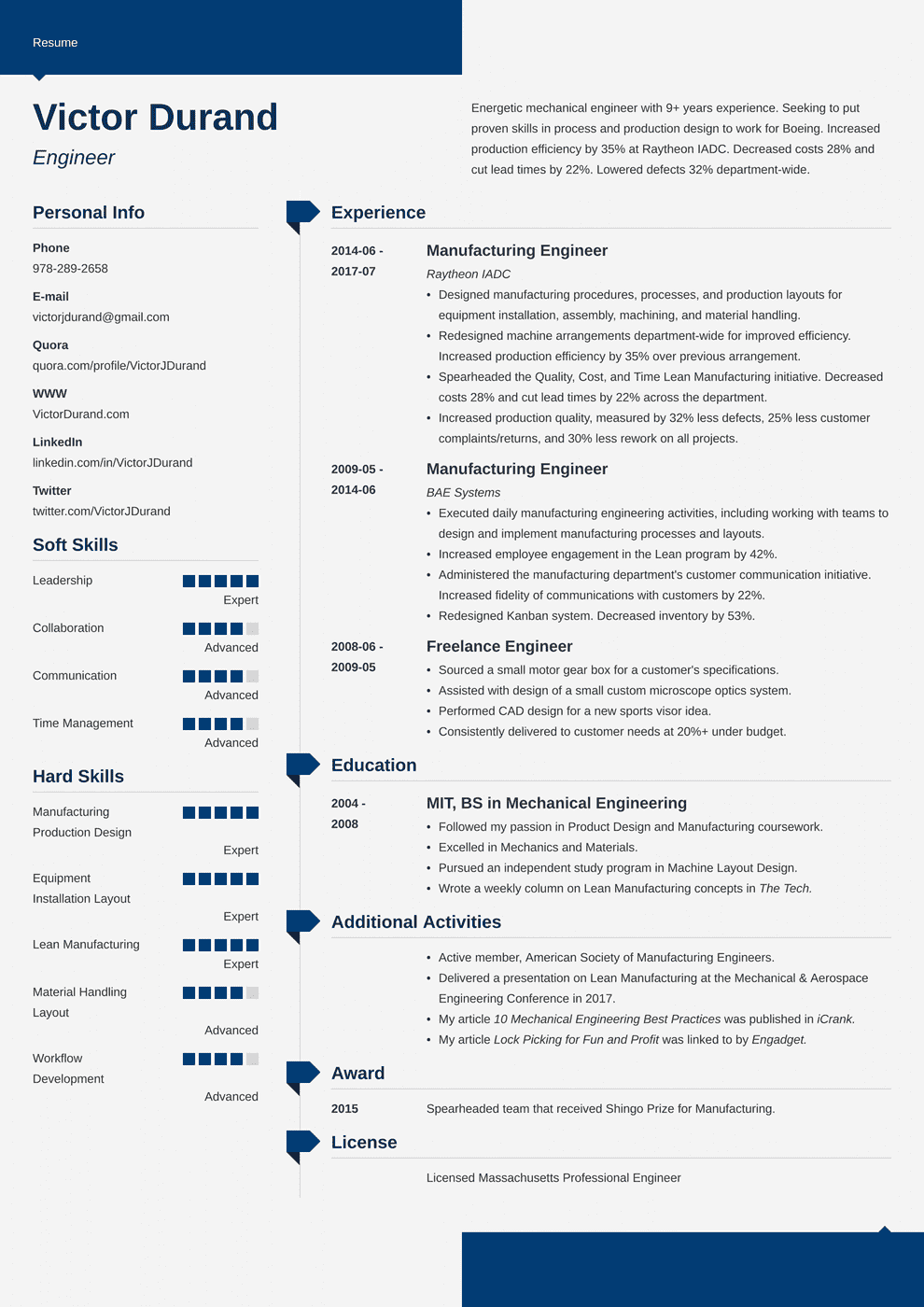 resume samples for engineers
