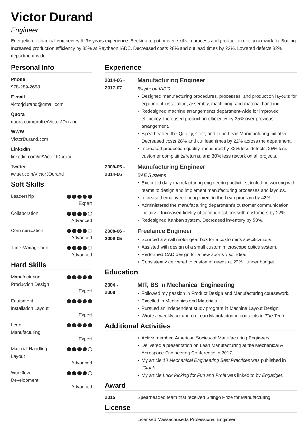 Engineering Resume Sample And Complete Guide 20 Examples - Mechanical-engineering-resume-templates