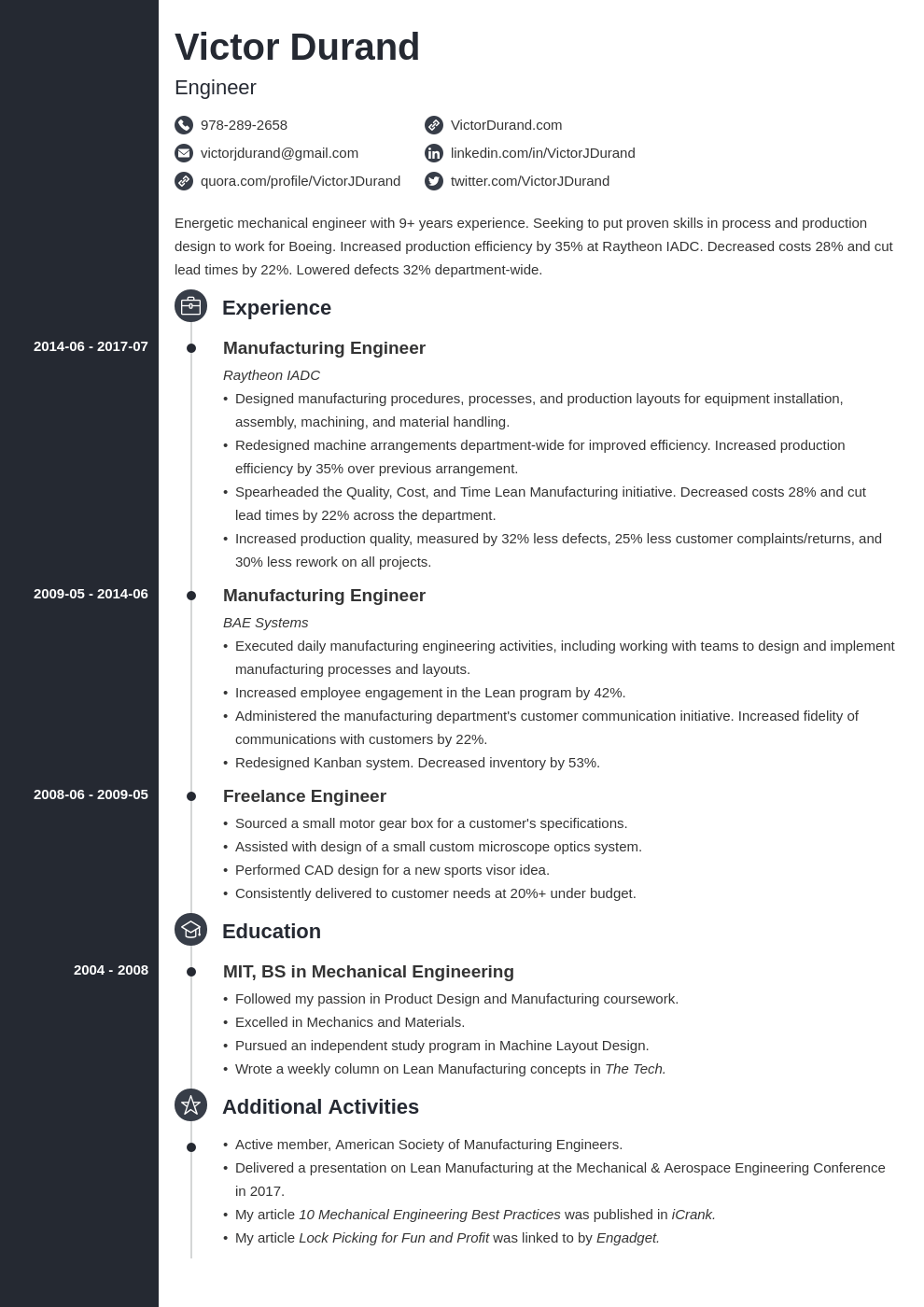 engineering resume example template concept