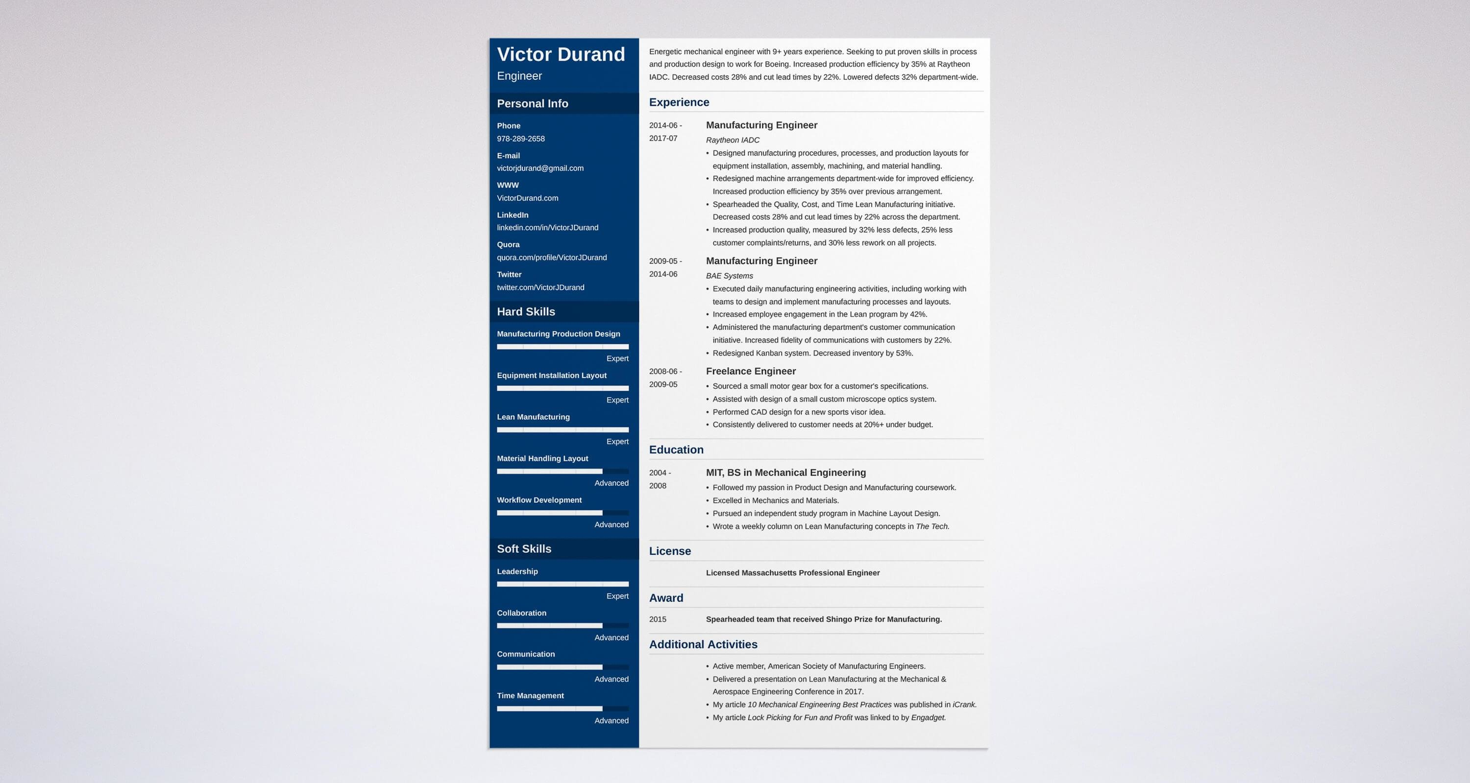 Uptowork  Resume Template Engineering