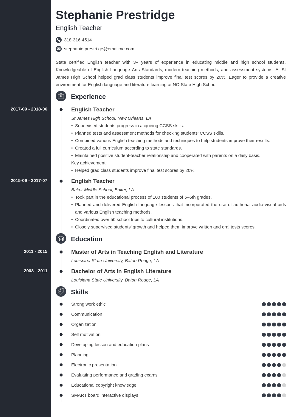 English Teacher Resume Sample With Job Description Skills