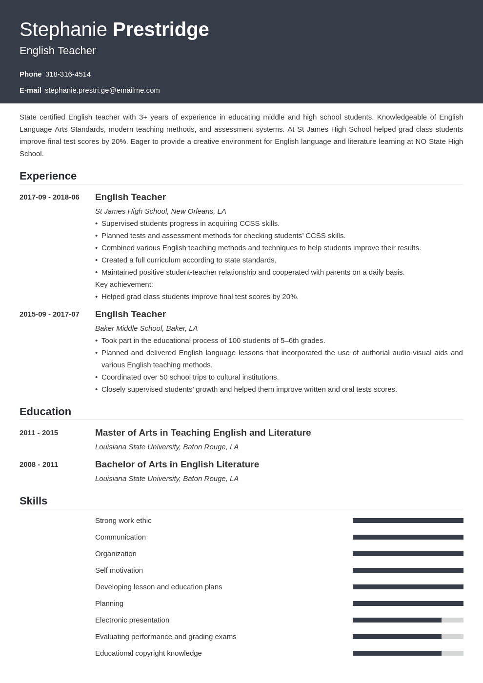 english teacher resume example template influx