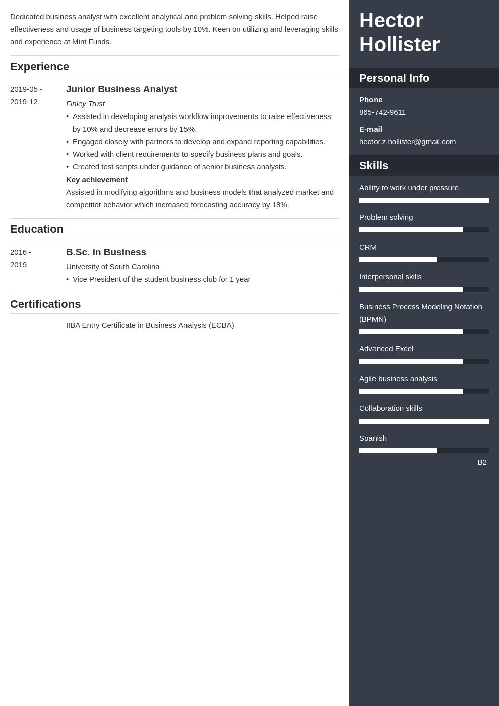 entry level business analyst resume examples  guide