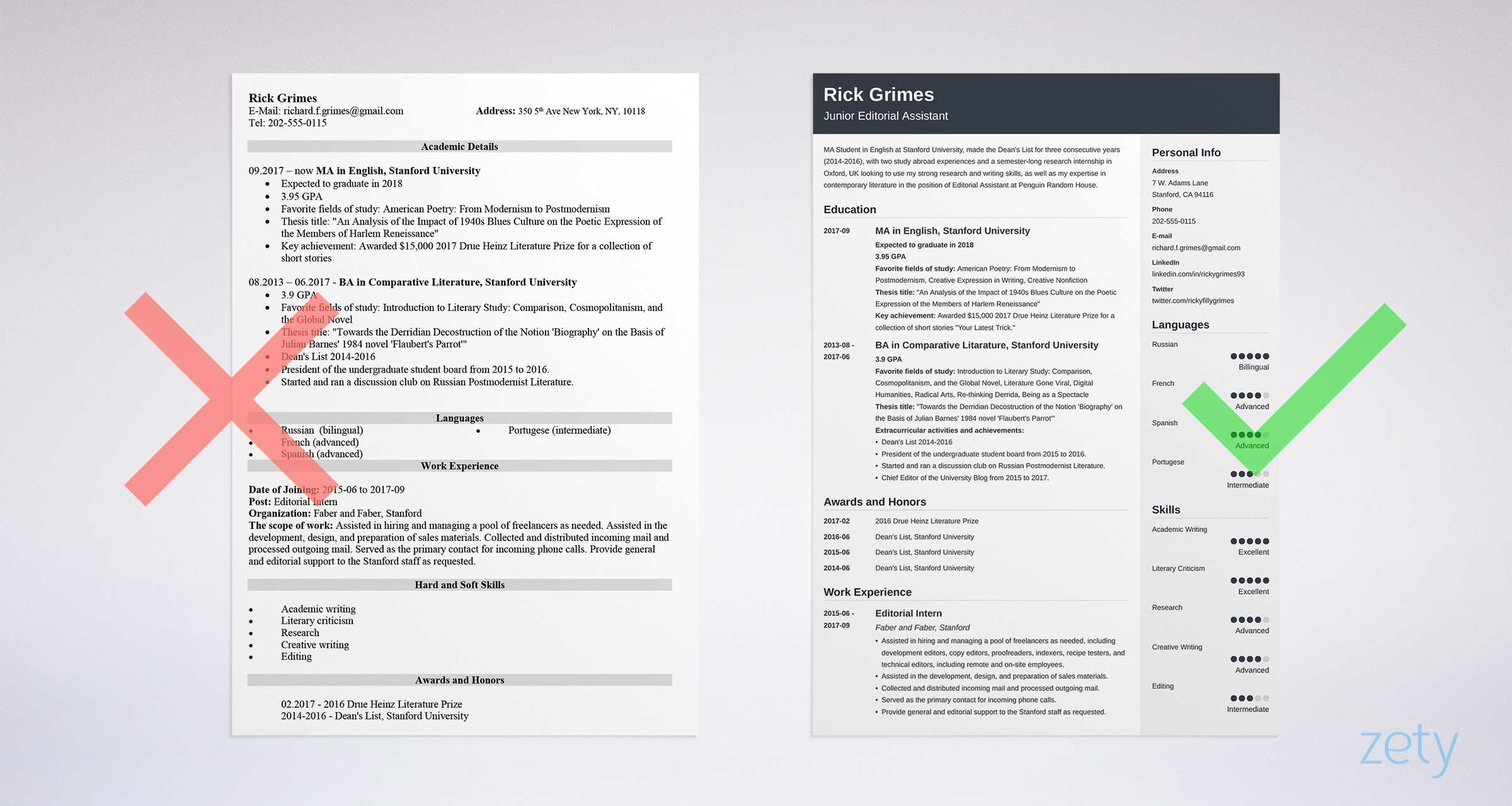 cv sample without work experience