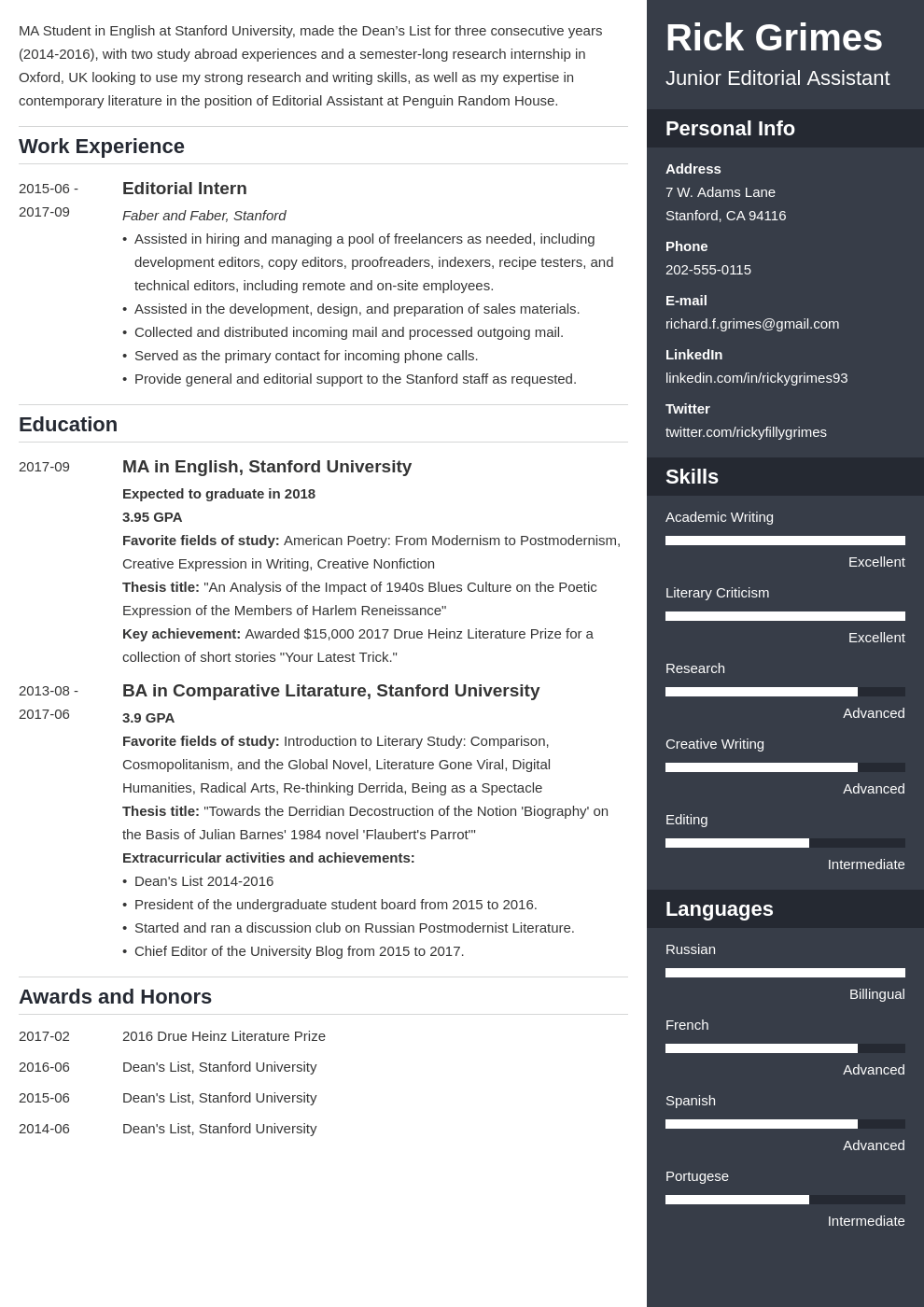 entry level resume example template enfold