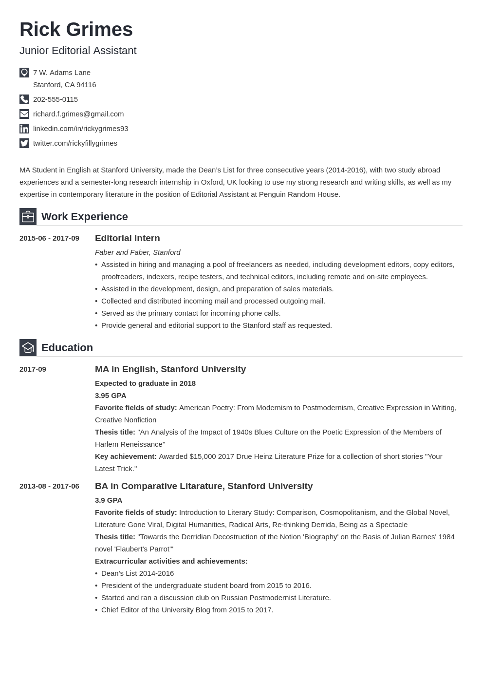 entry level resume example template iconic