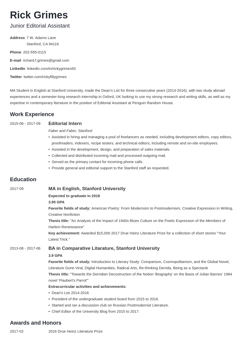entry level resume example template minimo