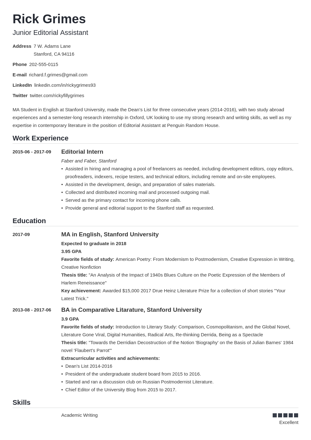 entry level resume example template nanica