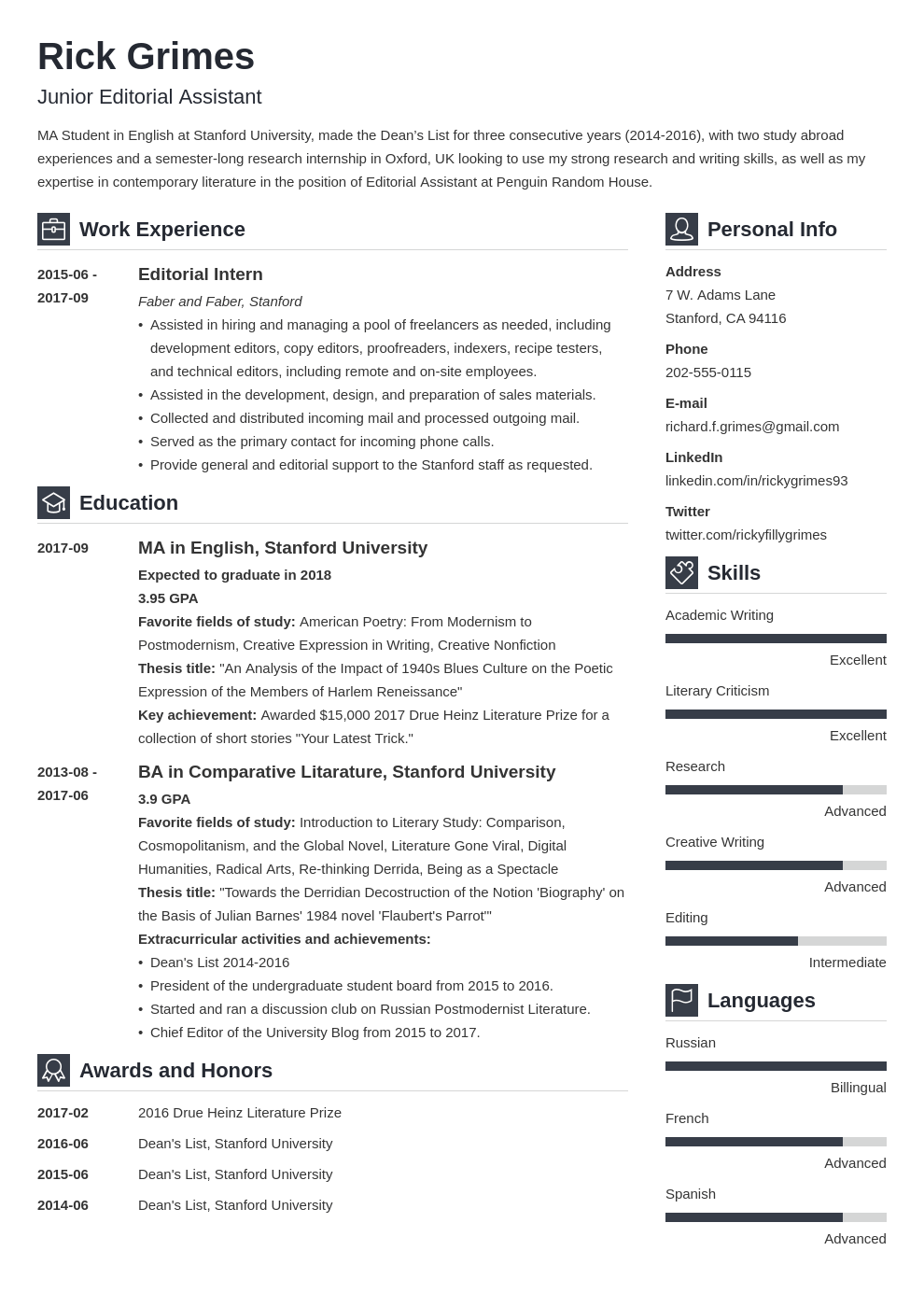entry level resume example template vibes