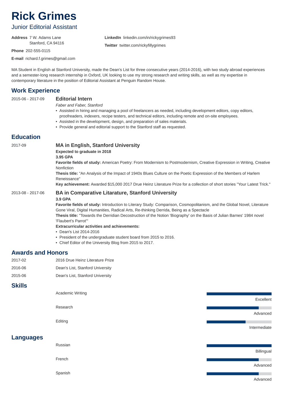 Entry Level Resume Template Guide 20 Examples