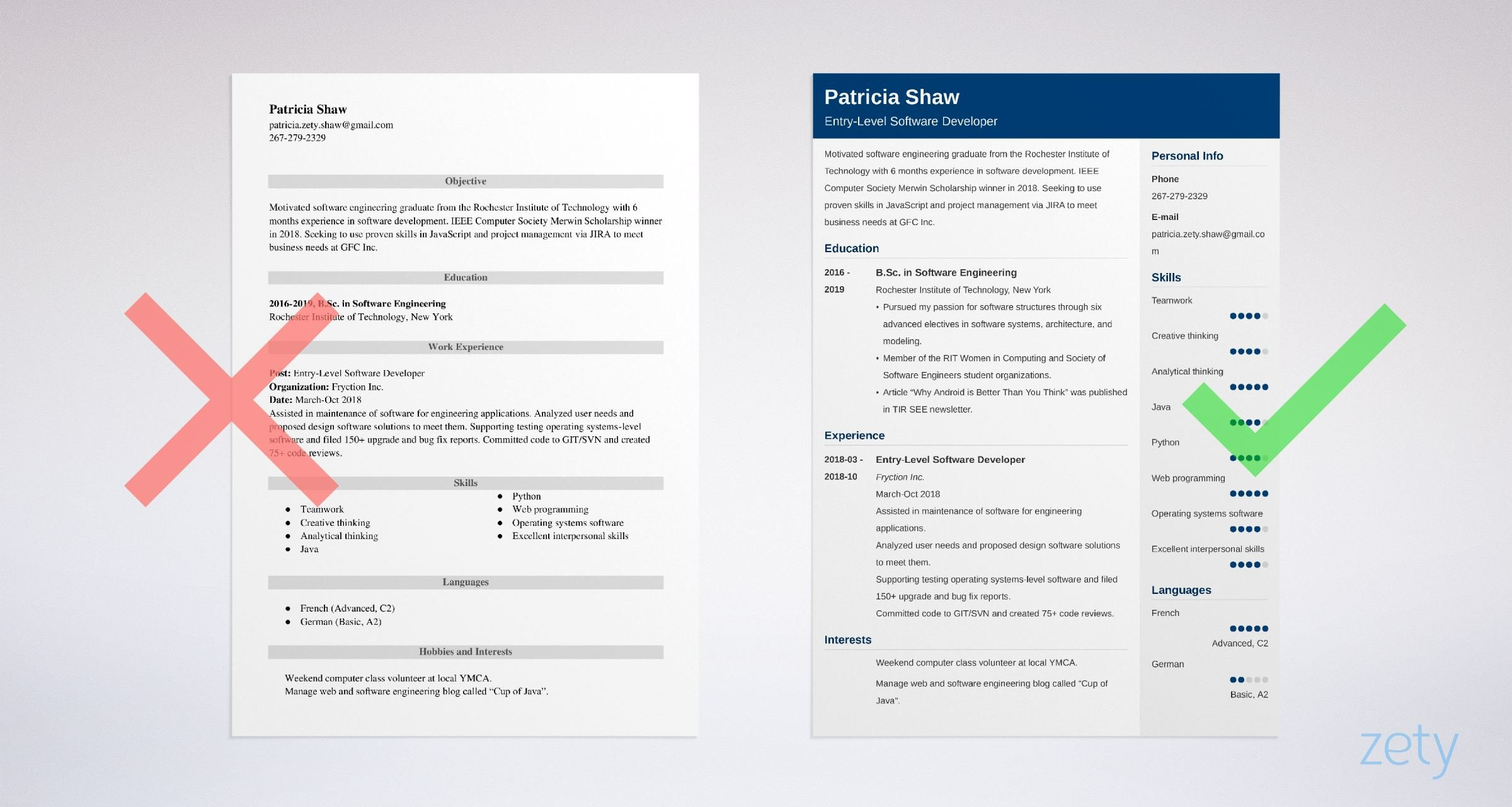 Entry Level Software Engineer Resume Sample Guide