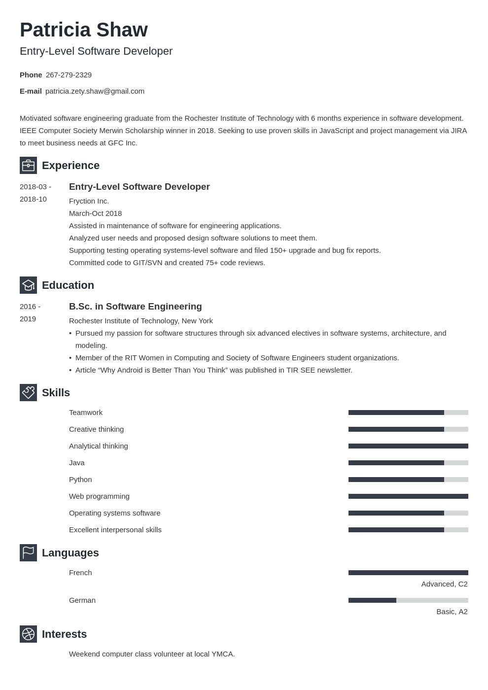 entry level software engineer resume example template newcast