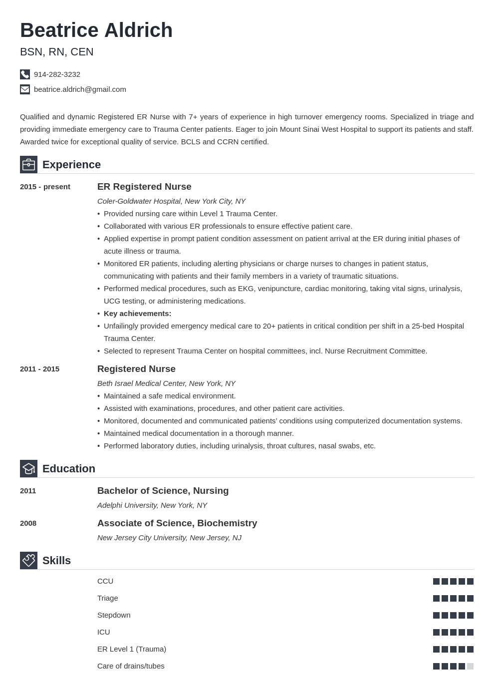 er nurse resume example template iconic