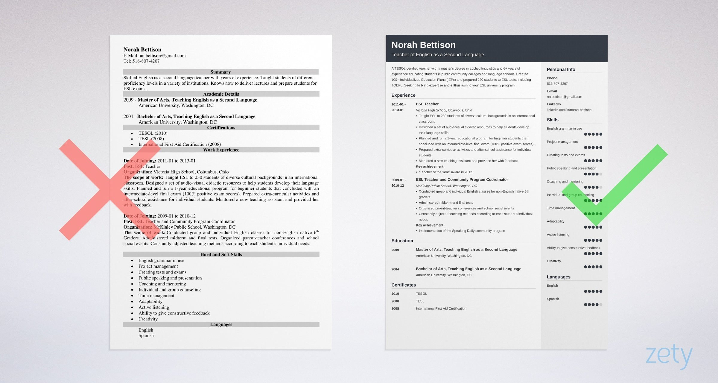 ESL Teacher Resume: Sample and Writing Guide [20+ Examples]
