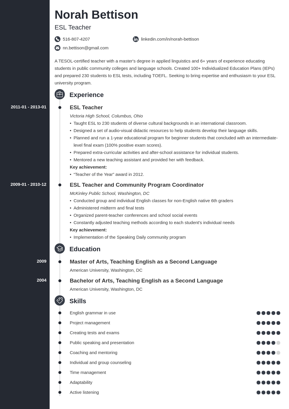 esl teacher resume example template concept