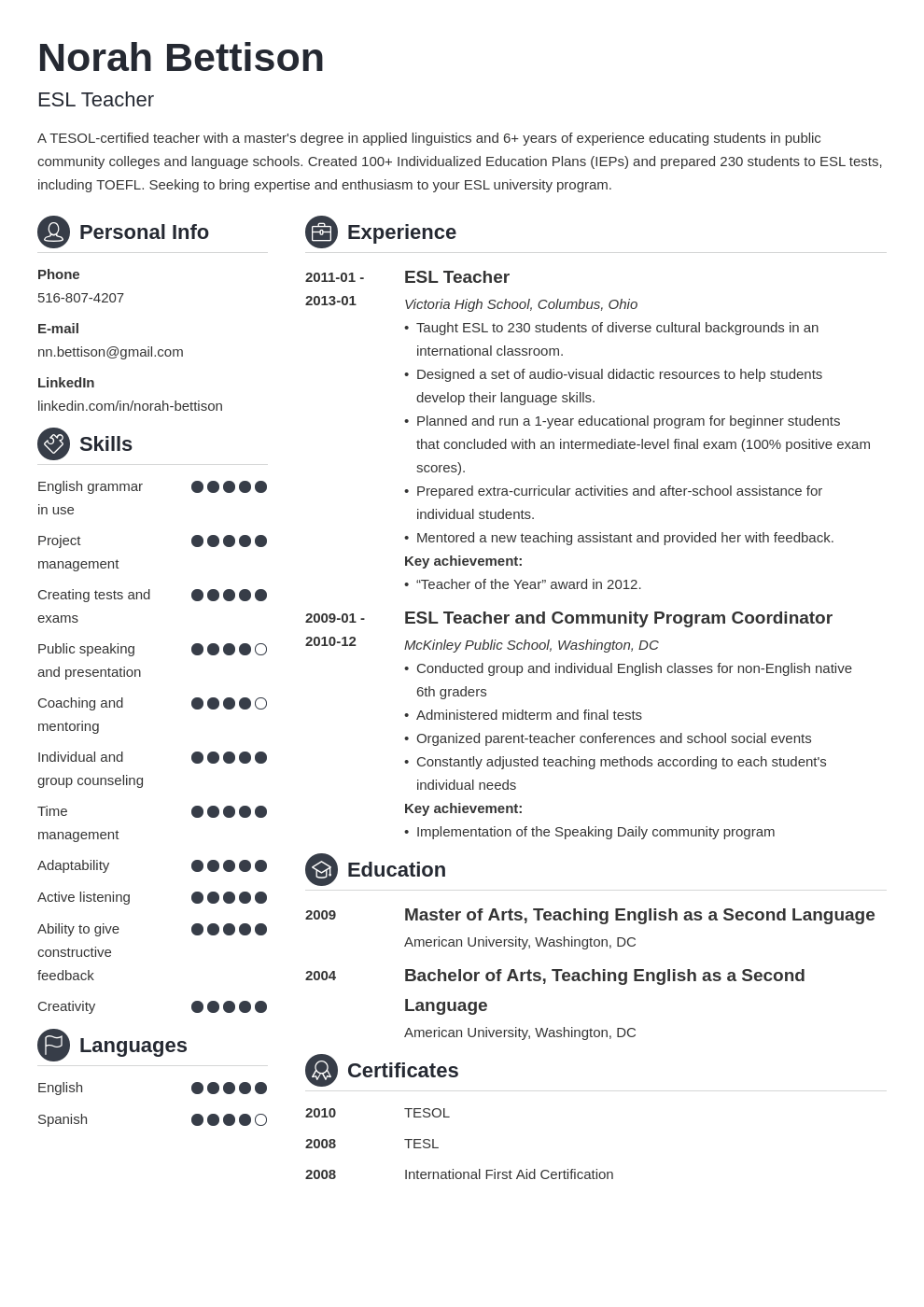 esl teacher resume example template crisp