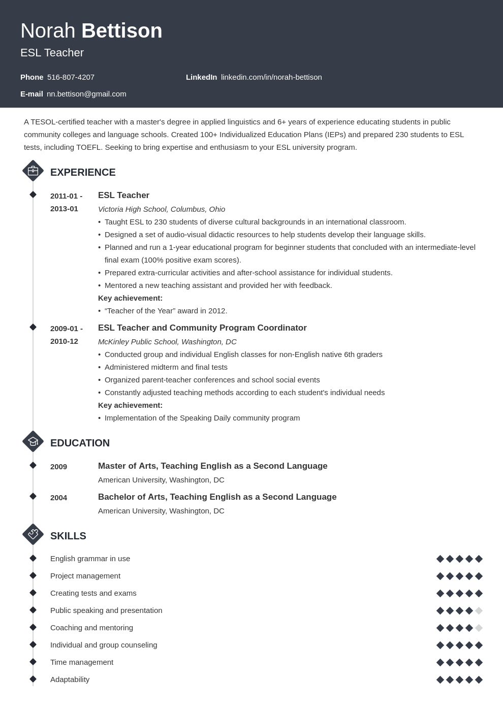 esl teacher resume example template diamond