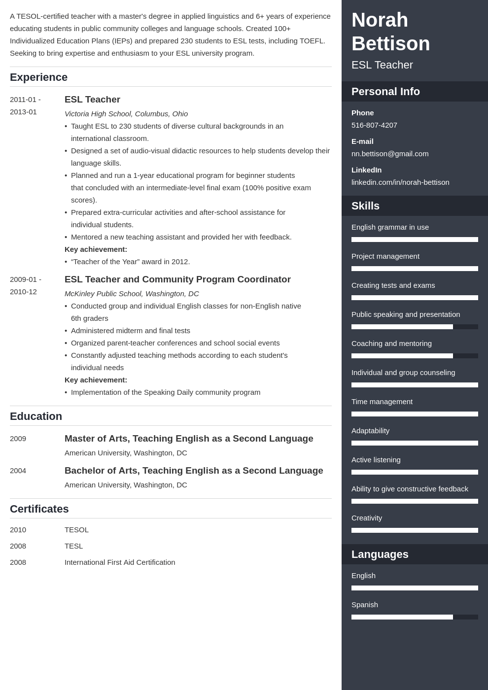 esl teacher resume example template enfold