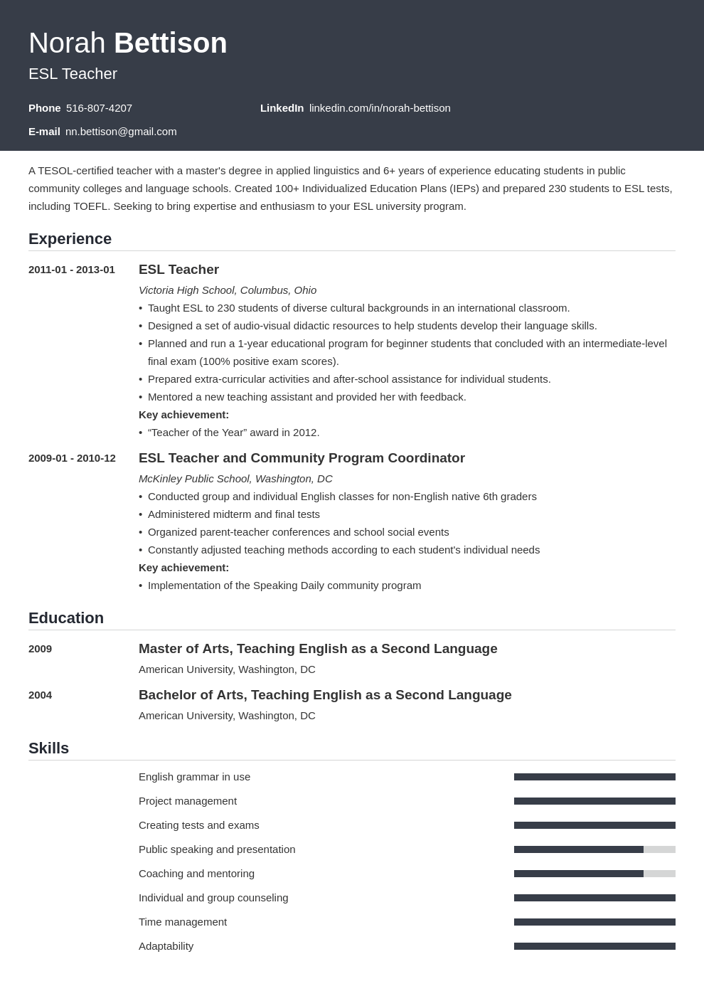 esl teacher resume example template influx