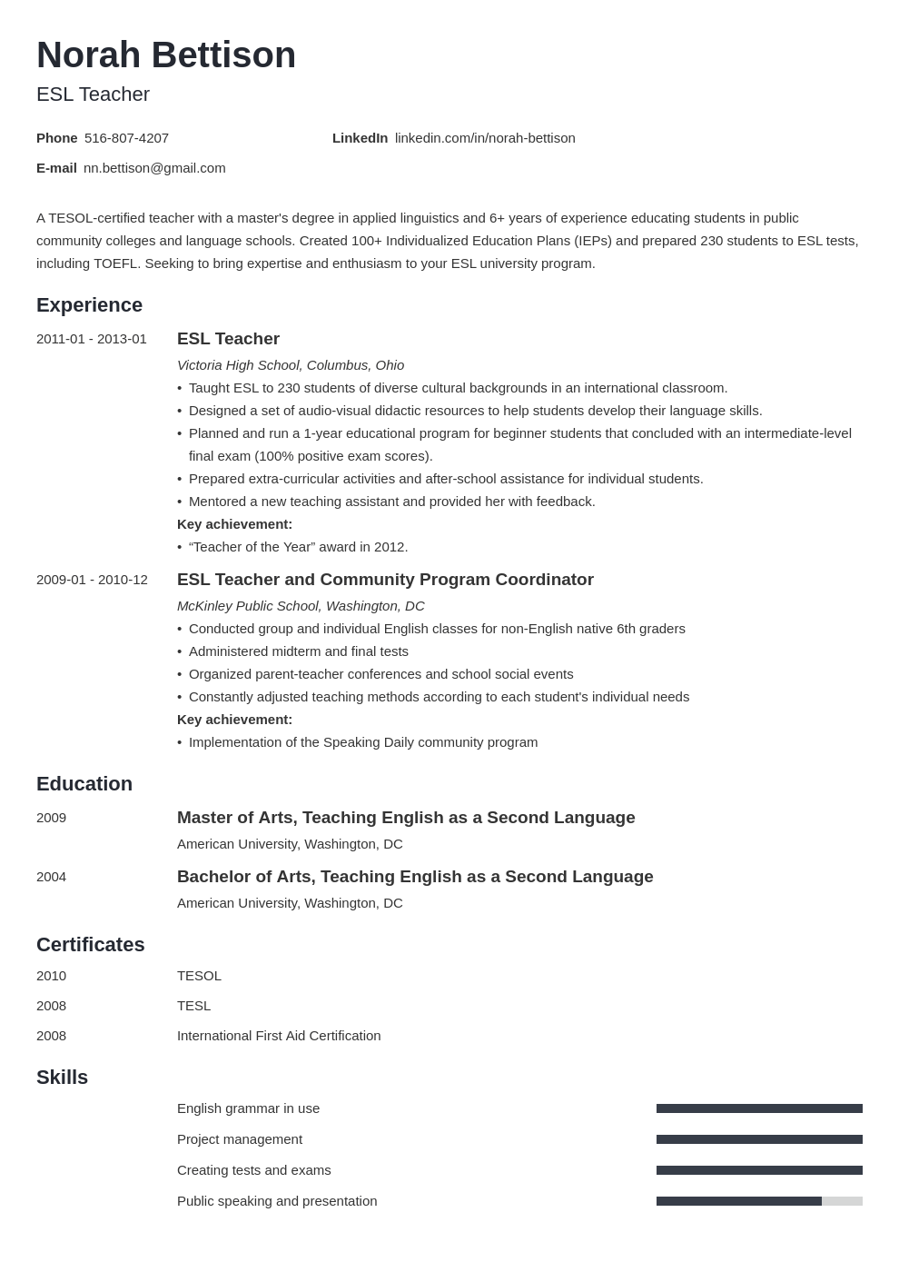 esl teacher resume example template minimo