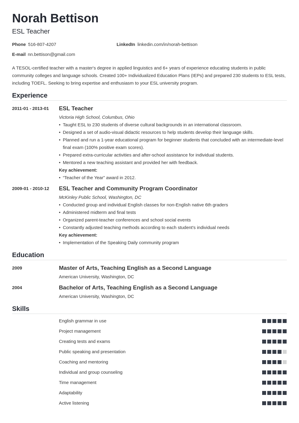 esl teacher resume example template nanica