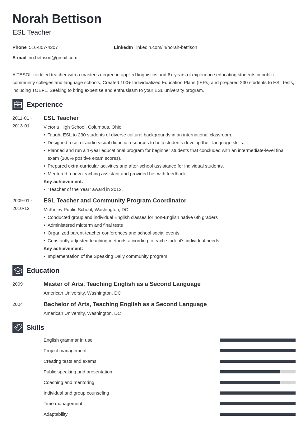 esl teacher resume example template newcast