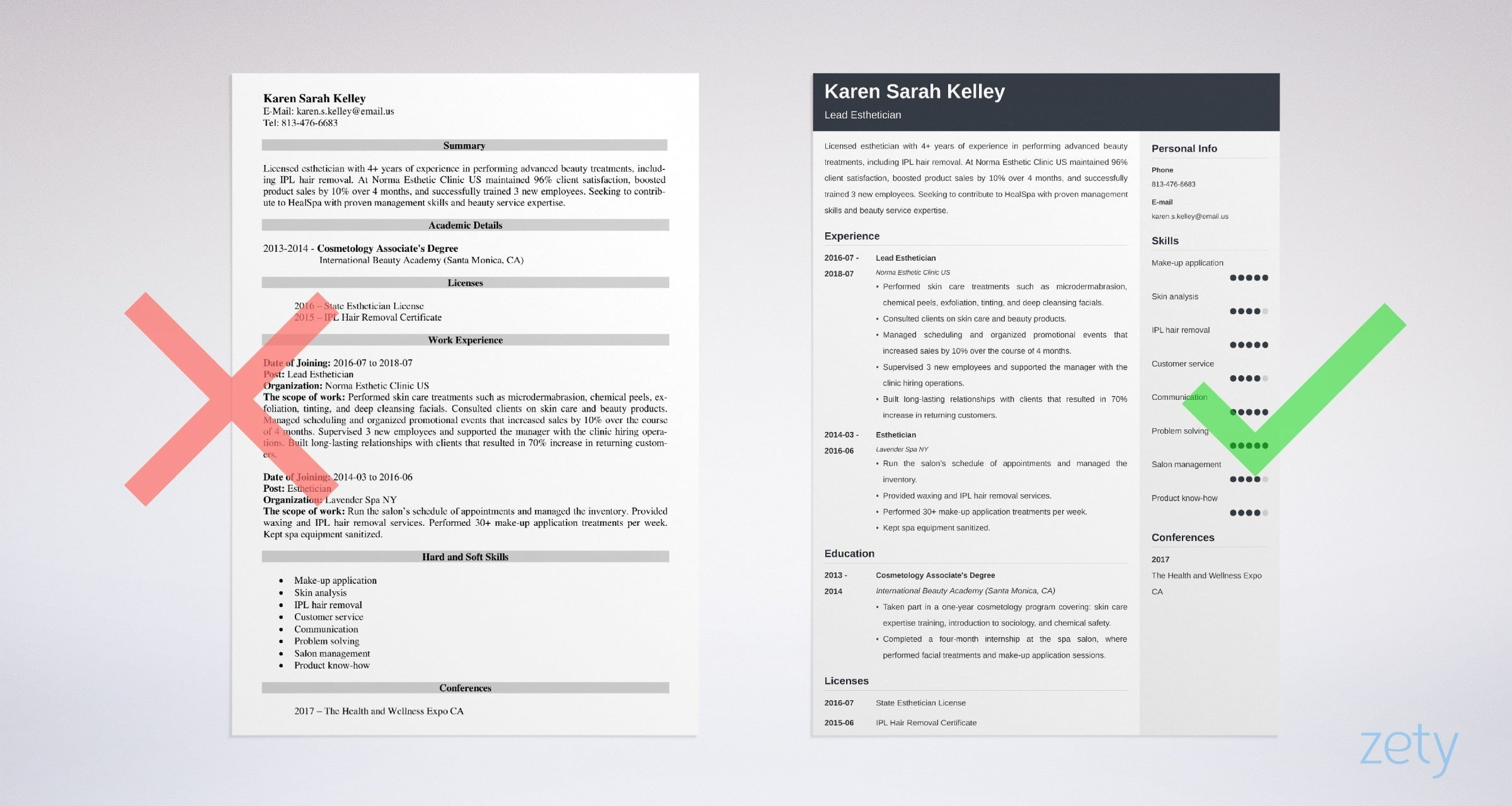 Esthetician Resume Sample Writing Guide20 Tips
