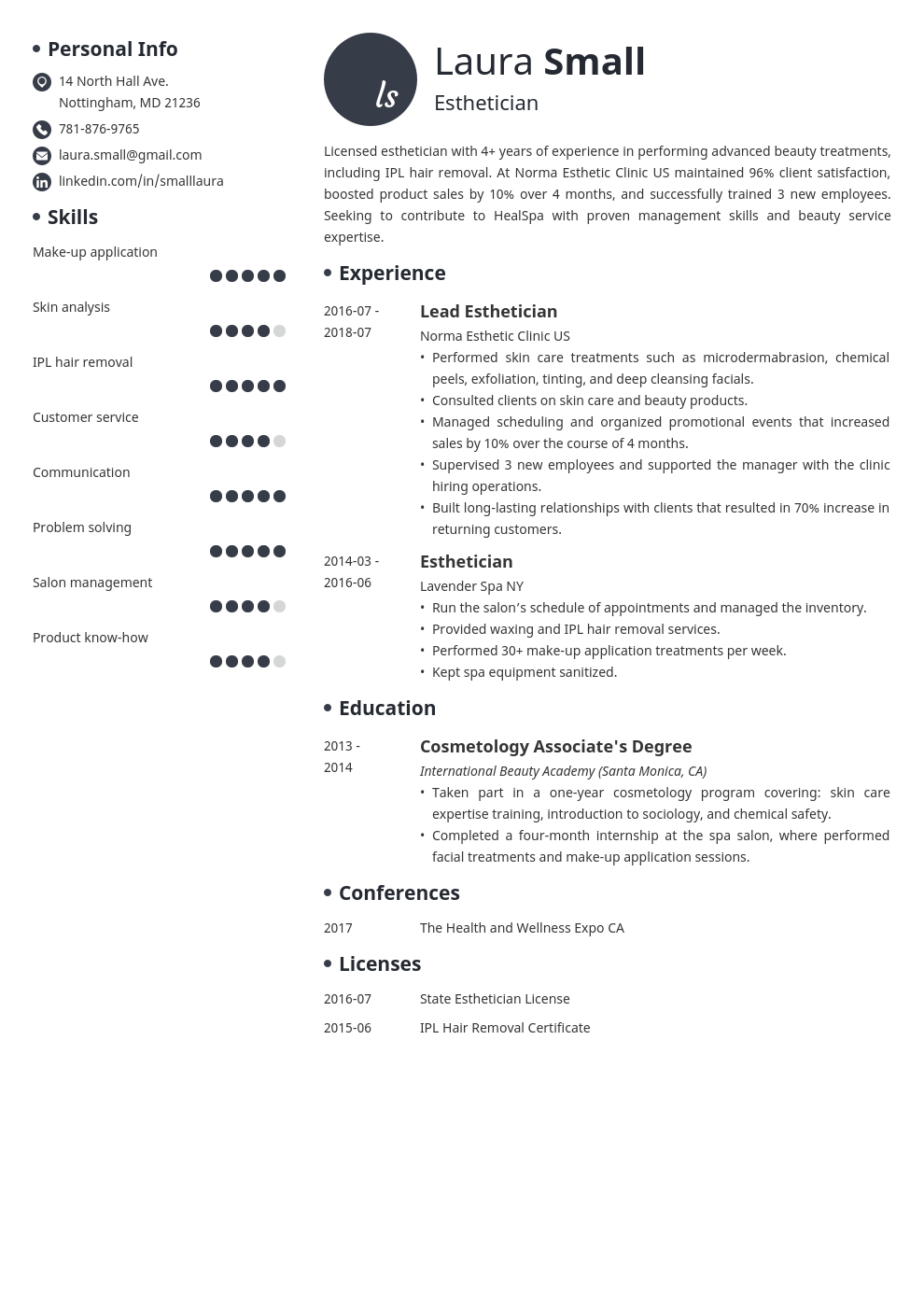 esthetician resume example template initials
