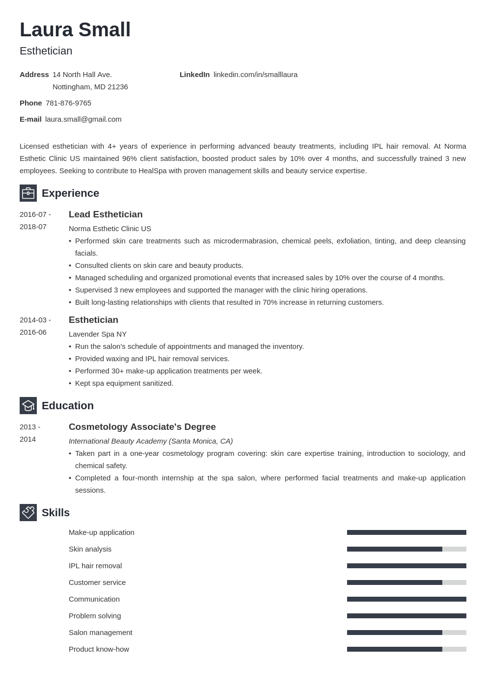 esthetician resume example template newcast