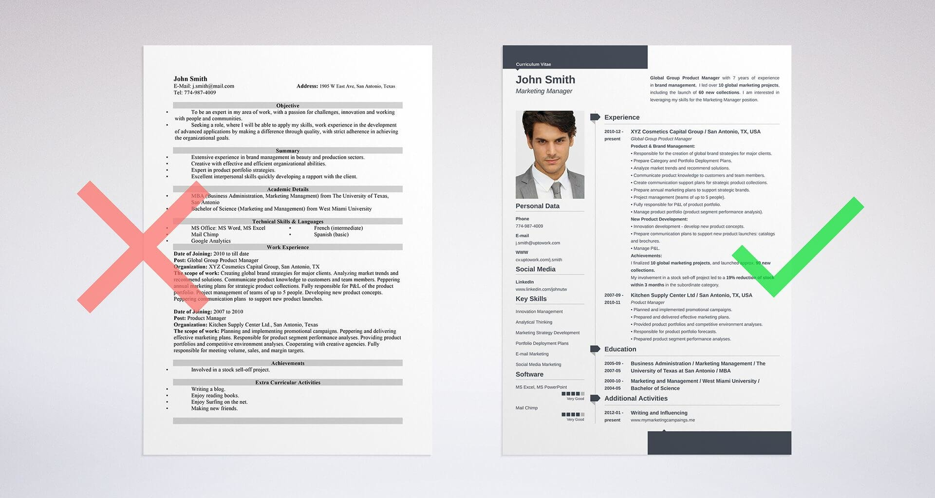 european resume template for professional