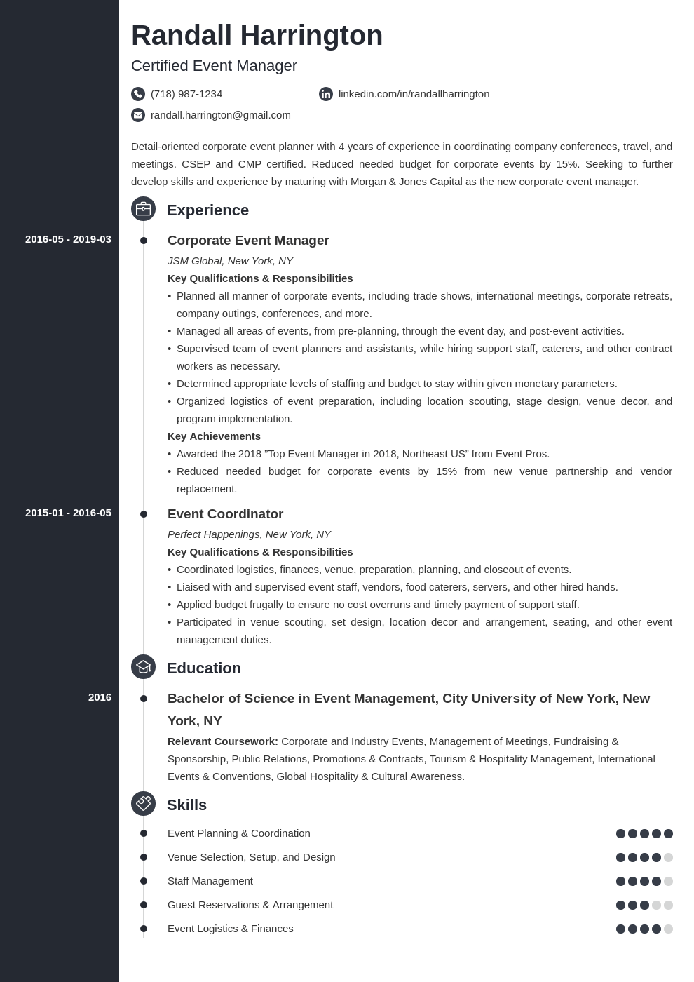 event manager resume example template concept